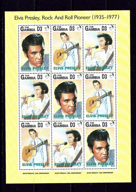 Gambia 1347 MNH 1997 Elvis Presley sheet of 9
