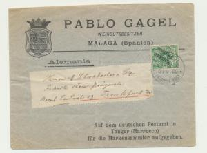 GERMAN OFFICES IN MORROCO 1900, 5c on MALAGA(SPAIN)COVER TANGER-F'FURT(SEE BELOW