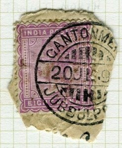 INDIA; POSTMARK fine used cancel on QV issue, Jubbulpore Cant. PIECE