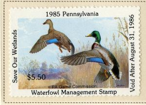 US PA3 PENN STATE DUCK STAMP 1985 MNH SCV $10.00 BIN $5.00