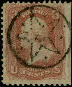 #65 UNION SPRINGS, NY FANCY STAR CANCEL S.E. AT RIGHT, SMALL HOLE BP5953