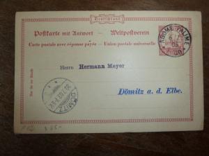 German Togo 1905 10P reply card no message  (19bea)