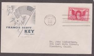 962 Francis Scott Key House of Farnam FDC with neatly typewritten address