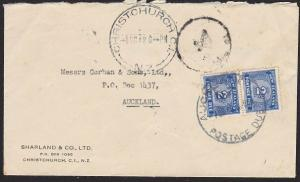 NEW ZEALAND 1948 cover Christchurch to Auckland - TO PAY / 4d + dues.......1848