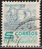 MEXICO 883a, $5Pesos 1950 DEF 2nd ISSUE TYPE II. USED, F-VF. (1413)