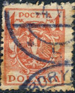 POLOGNE / POLAND - 1920 Mi147y 1M (p.11 1/4 - horizontally striped) - VFU