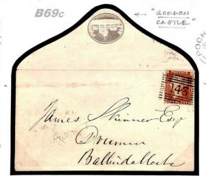 B69c GB MACHINE CANCELS Azemar First Trial 1d Pink Stationery Cut-out 1860 Cover