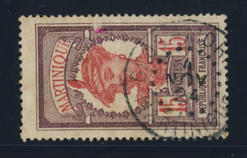 FRANCE / MARTINIQUE - 1924 CAD GROS MORNE SUR YVERTN°66 15c VIOLET-BRUN & ROSE