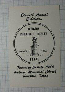 HPS Exhibition 1956 Palmer Memorial Church TX Philatelic Souvenir Ad Label