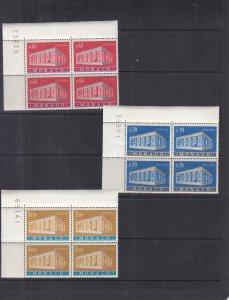Monaco: 1969 EUROPA Issue, Sc #722-724, MNH, Blk/4 (S17938)