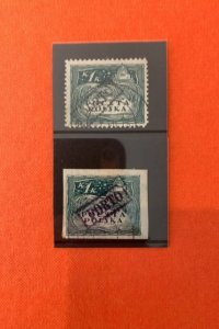 1K Imperf & perf Rare Poland PORTO Locals 1919 with local handstamps - used