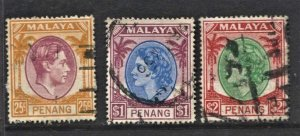 STAMP STATION PERTH Penang #3 QEII & KGVI Used - Unchecked -