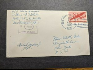 APO 836 FORT SHERMAN, CANAL ZONE 1943 Censored WWII Army Cover 82nd CA (AA)