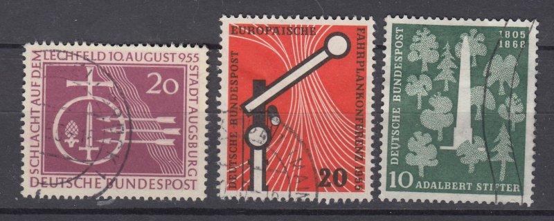 J28709, 1955 germany sets of 1 used #732,734,735 designs