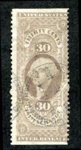 U.S. R52b used, 30c Inland Exchange, Lilac, part perf