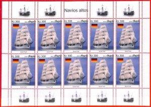 A1559 - ANGOLA - ERROR: MISSPERF   FULL SHEET x 10 - 2019  Boats GERMANY  Flags