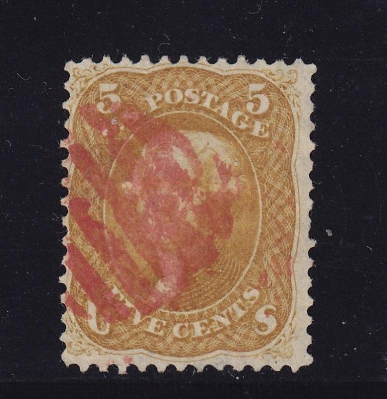 67 F-VF used neat Red grid cancel with nice color cv $ 850 ! see pic !