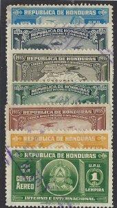 HONDURAS C77-83 USED SCV $5.35 BIN $2.15 AIRPLANES, MAP, CREST
