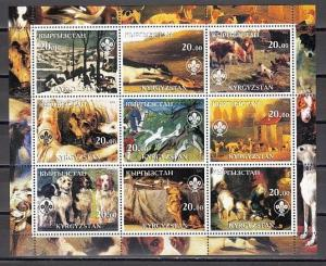 Kyrgyzstan, 2002 Cinderella issue. Dog Paintings sheet of 9. #1. Scout Logo.