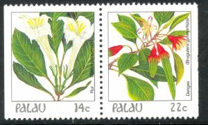 PALAU 1987-88 14c & 22c Indigenous Flowers Pair From Booklet Pane Sc 130var MNH