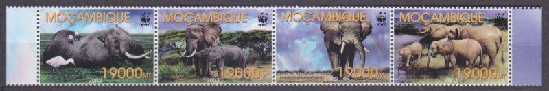 Mozambique MNH 2393-6 African Elephants Wildlife WWF 2002