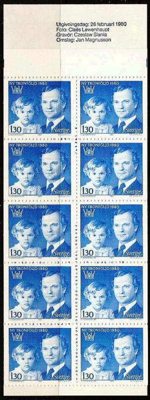 SWEDEN 1318a MNH 1980 Royalty Complete Booklet