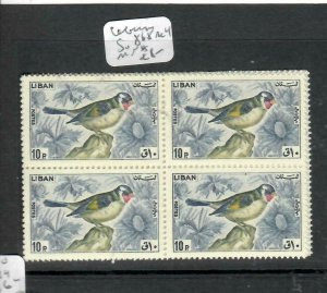LEBANON (P0106B)  BIRD SG 868   10P  BL OF 4   MNH