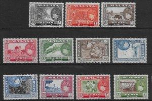 MALAYA KEDAH SG92/102 1957 DEFINITIVE SET MNH