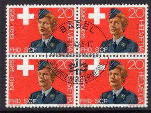 Switzerland  #464   1965  used  block of 4  women`s army auxiliary corps