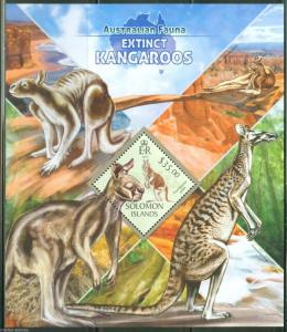 SOLOMON ISLANDS  2013 AUSTRALIAN FAUNA EXTINCT KANGAROOS SOUVENIR SHEET  MINT NH