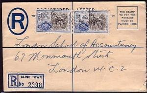 SIERRA LEONE 1958 QE 4d Reg envelope uprated used CLINE TOWN...............32073