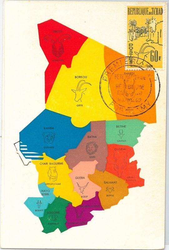 59106  -  TCHAD CHAD - POSTAL HISTORY: MAXIMUM CARD 1962  -  ANIMALS