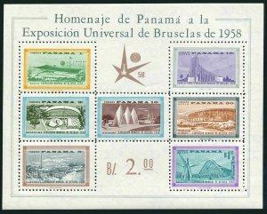 Panama C209a,MNH.Michel Bl.5. World Fair Brussels-1958.Pavilions.