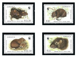 Jamaica 857-60 MNH 1996 Jamaican Hutia (W.W.F.)