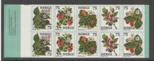 Sweden Sc 1219a 1977 Wild Berries stamp bklt of 10 mint NH