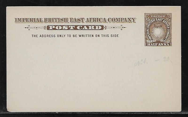 British East Africa Stationery Postcard H&G 1 Mint