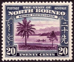North Borneo 1939 20c Violet & Slate-Blue SG312 MH
