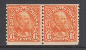 US Sc 723 MLH. 1932 6c deep orange Garfield Joint Line Pair, F-VF