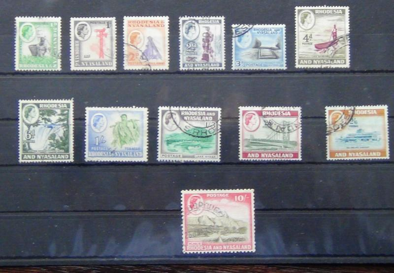 Rhodesia & Nyasaland 1956-62 set to 2/6 + 10s value Fine Used