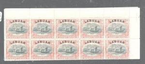 LABUAN (P1606B) 8C BOAT SG 94B TOP MARGIN BLOCK OF 10  MNH