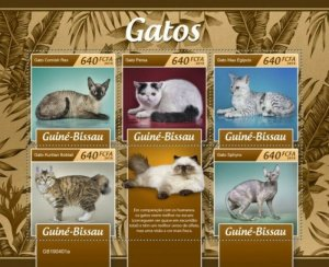 Guinea-Bissau - 2019 Cat Breeds on Stamps - 5 Stamp Sheet - GB190401a