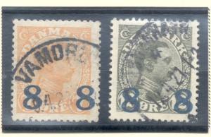 Denmark Sc 161-2 1921 8 ore overprints stamp set used