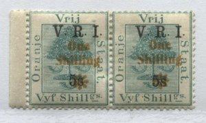 Orange Free State 1902 1/ on 5/ on 5/ pair o.g. hinged