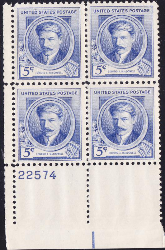Famous Americans Issue 1940 Composers Edward MacDowell Plate Block-4 VF/NH