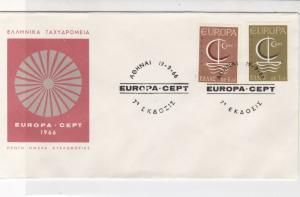 Greece 1966 Europa CEPT Picture & Slogan Cancels Two Stamps Cover Ref 27453