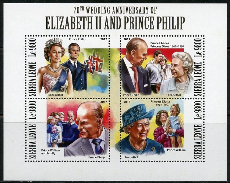 SIERRA LEONE  2017 70th WEDDING ANNIVERSARY OF ELIZABETH II & PHILIP SHT MINT NH
