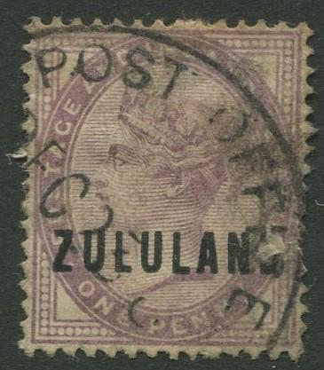 Zululand - Scott 2 - QV Definitive Overprint -1888 - Used -Single 1d Stamp