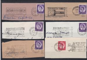 British Publicity Slogan Cancels Stamps on Piece- Events+Work+Holidays Ref 32089