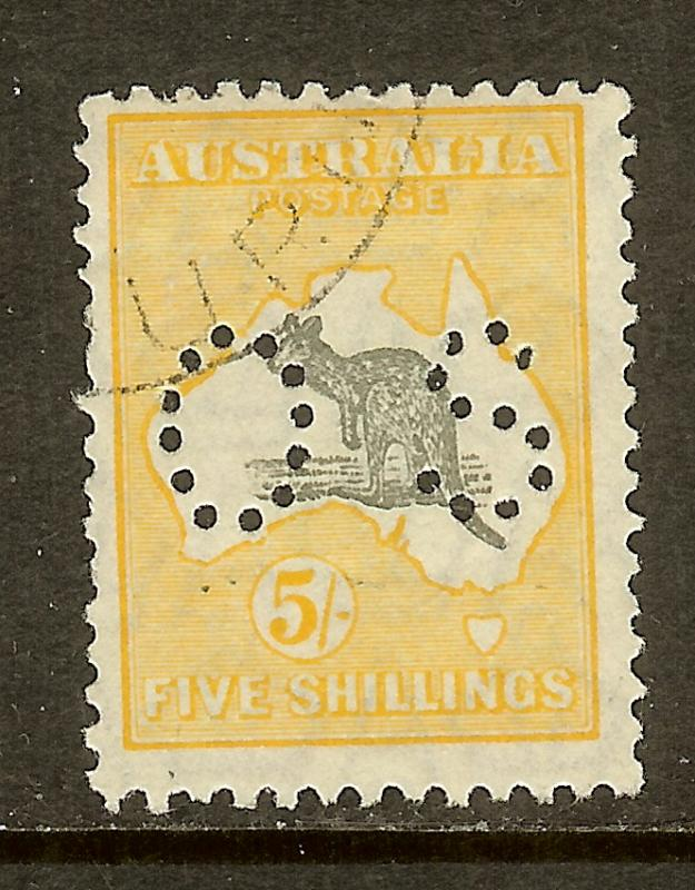 Australia, Scott #O100, 5sh Kangaroo and Map Official, Wmk 203, Used