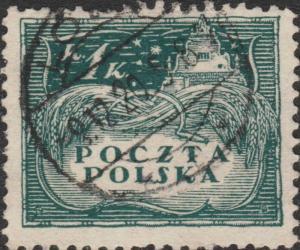 POLOGNE / POLAND - 1919 - Mi.84x p.11-1/2 1K Dark Green Used LÖDZ / * t *